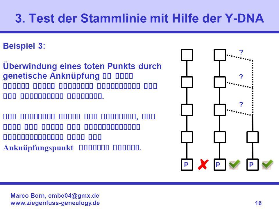 Marco Born, embe04@gmx.de www.ziegenfuss-genealogy.de 16 3. Test der Stammlinie mit Hilfe der Y-DNA Beispiel 3: Überwindung eines toten Punkts durch g