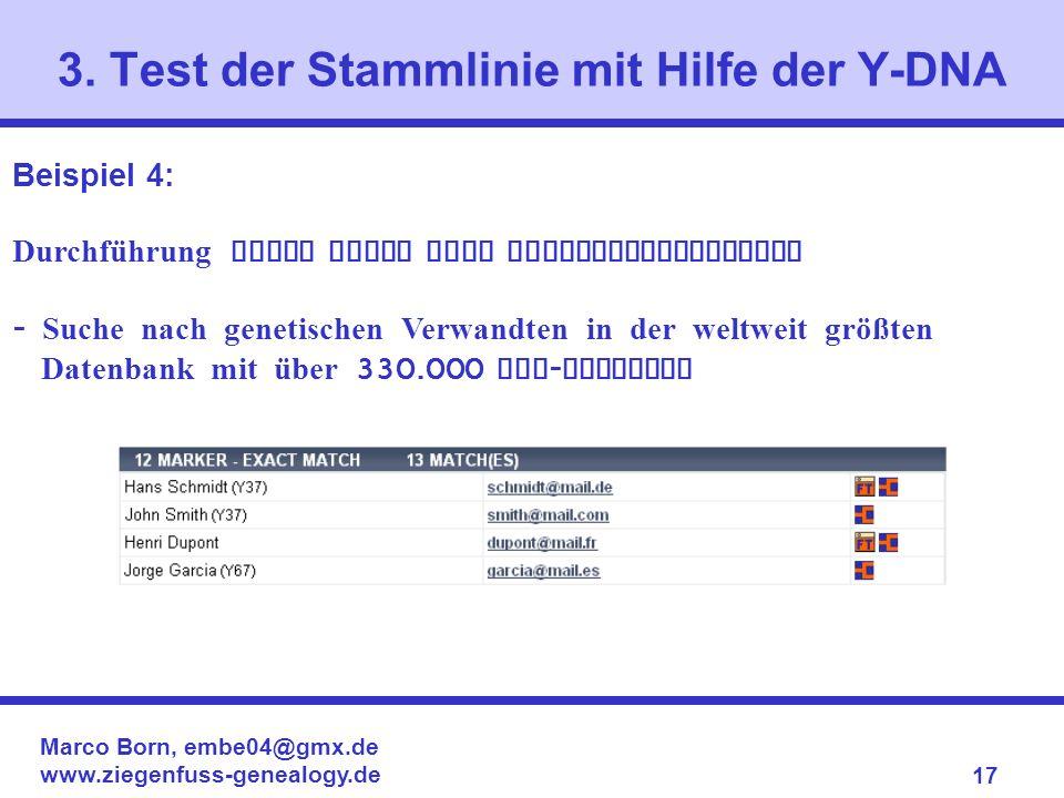 Marco Born, embe04@gmx.de www.ziegenfuss-genealogy.de 17 3. Test der Stammlinie mit Hilfe der Y-DNA Beispiel 4: Durchführung eines Tests ohne Vergleic
