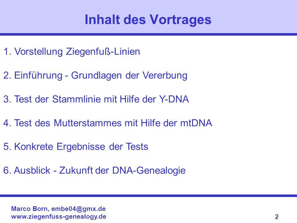 Marco Born, embe04@gmx.de www.ziegenfuss-genealogy.de 2 1.Vorstellung Ziegenfuß-Linien 2. Einführung - Grundlagen der Vererbung 3. Test der Stammlinie