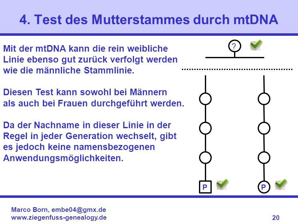 Marco Born, embe04@gmx.de www.ziegenfuss-genealogy.de 20 Mit der mtDNA kann die rein weibliche Linie ebenso gut zurück verfolgt werden wie die männlic