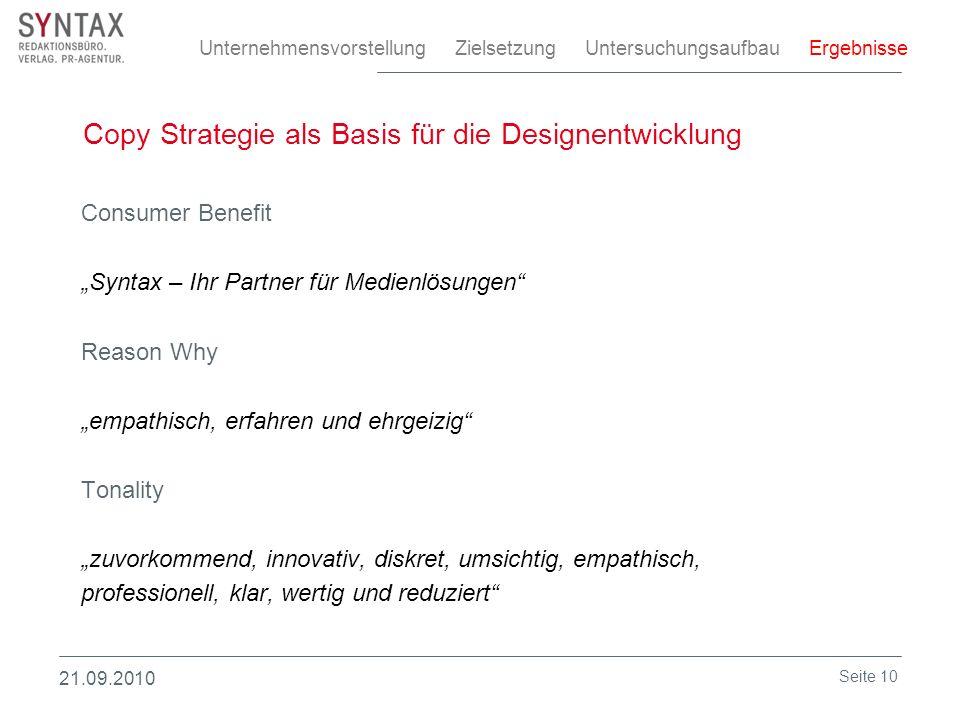 Copy Strategie als Basis für die Designentwicklung Consumer Benefit Syntax – Ihr Partner für Medienlösungen Reason Why empathisch, erfahren und ehrgei