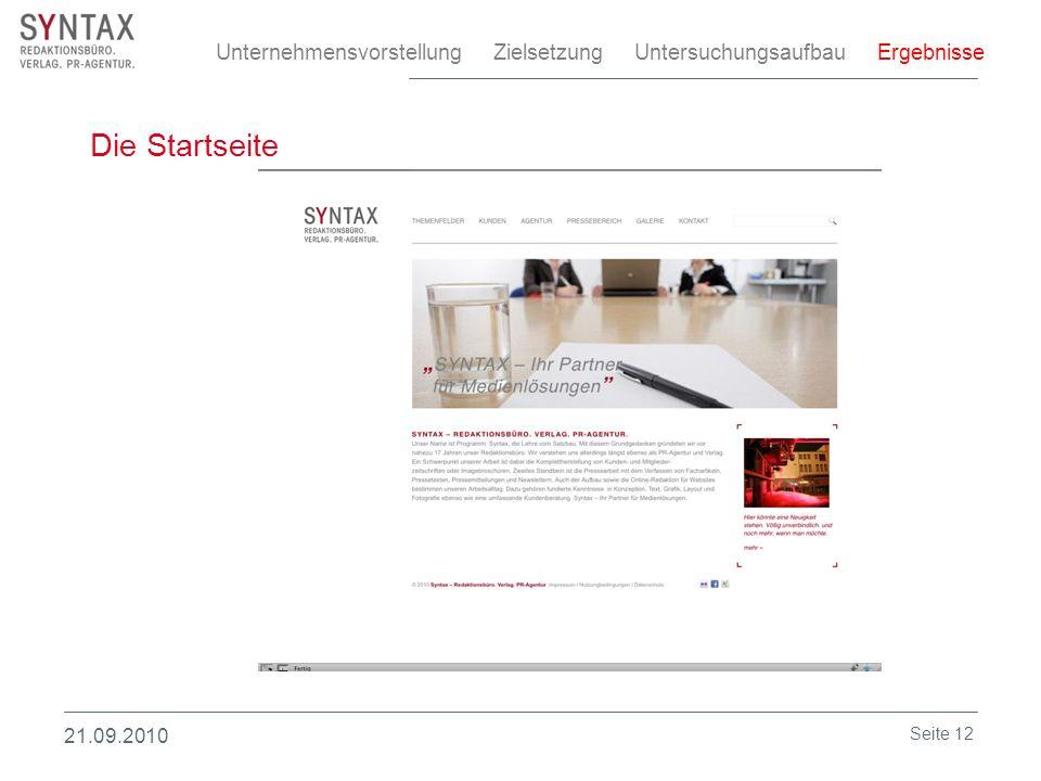 Die Startseite Unternehmensvorstellung Zielsetzung Untersuchungsaufbau Ergebnisse 21.09.2010 Seite 12