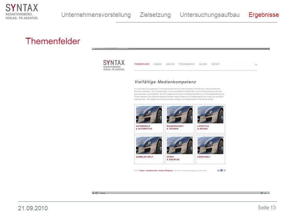 Themenfelder Unternehmensvorstellung Zielsetzung Untersuchungsaufbau Ergebnisse 21.09.2010 Seite 13