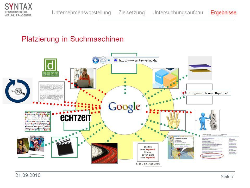 Platzierung in Suchmaschinen Unternehmensvorstellung Zielsetzung Untersuchungsaufbau Ergebnisse 21.09.2010 Seite 7