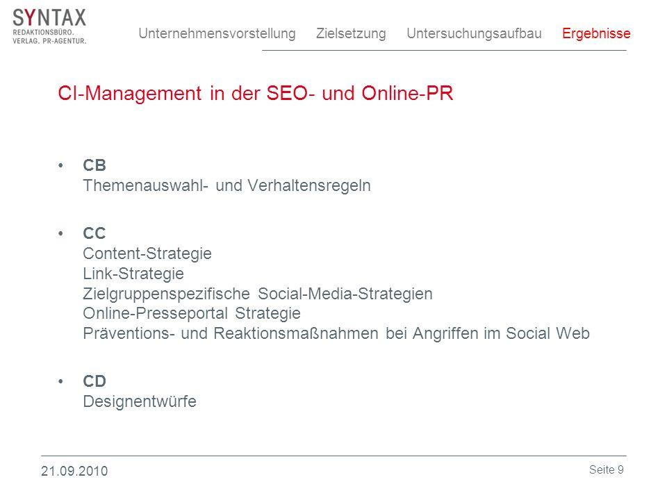 CI-Management in der SEO- und Online-PR CB Themenauswahl- und Verhaltensregeln CC Content-Strategie Link-Strategie Zielgruppenspezifische Social-Media