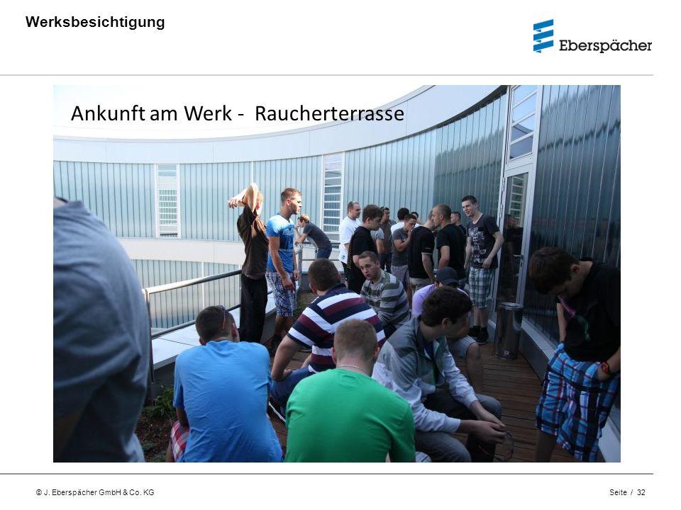 © J. Eberspächer GmbH & Co. KG Seite / 32 Werksbesichtigung Ankunft am Werk - Raucherterrasse