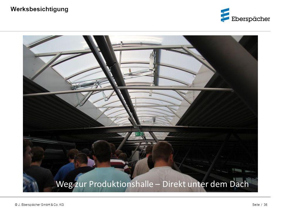 © J. Eberspächer GmbH & Co. KG Seite / 35 Werksbesichtigung Weg zur Produktionshalle – Direkt unter dem Dach