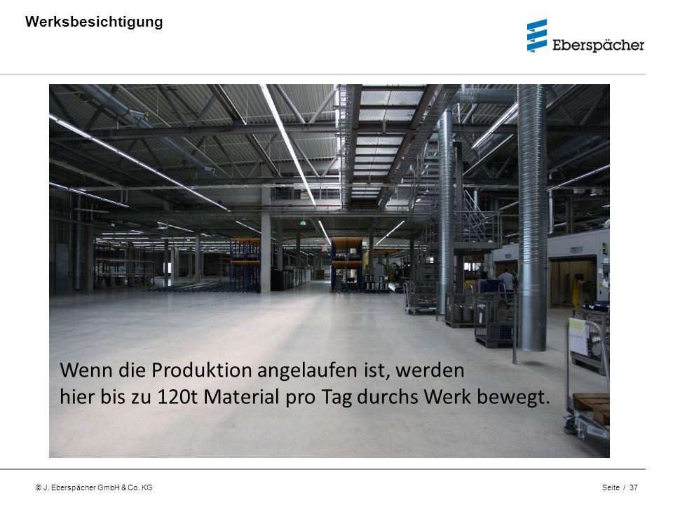 © J. Eberspächer GmbH & Co. KG Seite / 37 Werksbesichtigung Wenn die Produktion angelaufen ist, werden hier bis zu 120t Material pro Tag durchs Werk b