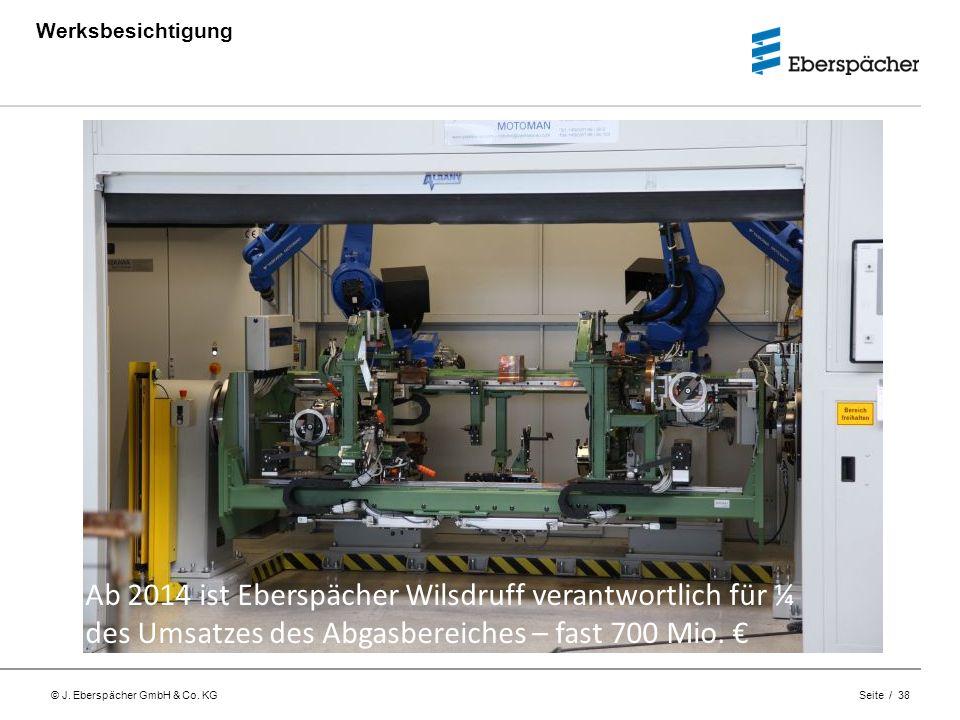 © J. Eberspächer GmbH & Co. KG Seite / 38 Werksbesichtigung Ab 2014 ist Eberspächer Wilsdruff verantwortlich für ¼ des Umsatzes des Abgasbereiches – f