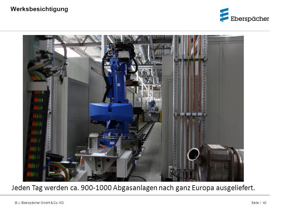© J. Eberspächer GmbH & Co. KG Seite / 40 Werksbesichtigung Jeden Tag werden ca. 900-1000 Abgasanlagen nach ganz Europa ausgeliefert.