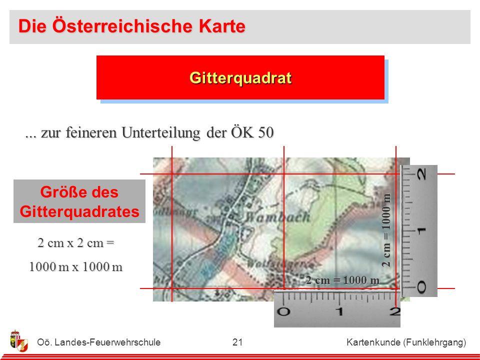 Oö. Landes-Feuerwehrschule Kartenkunde (Funklehrgang)20 Blattbereiche der Österreichischen Karte