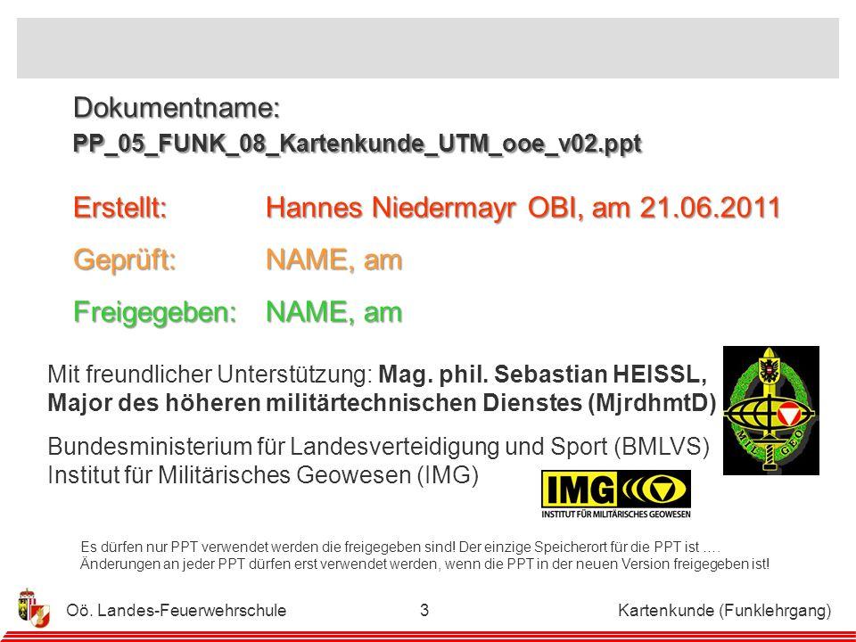 Oö.Landes-Feuerwehrschule Kartenkunde (Funklehrgang)2 Mit freundlicher Unterstützung: Mag.