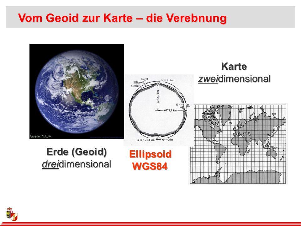 Erde (Geoid) dreidimensional Karte zweidimensional EllipsoidWGS84 Quelle: NASA.