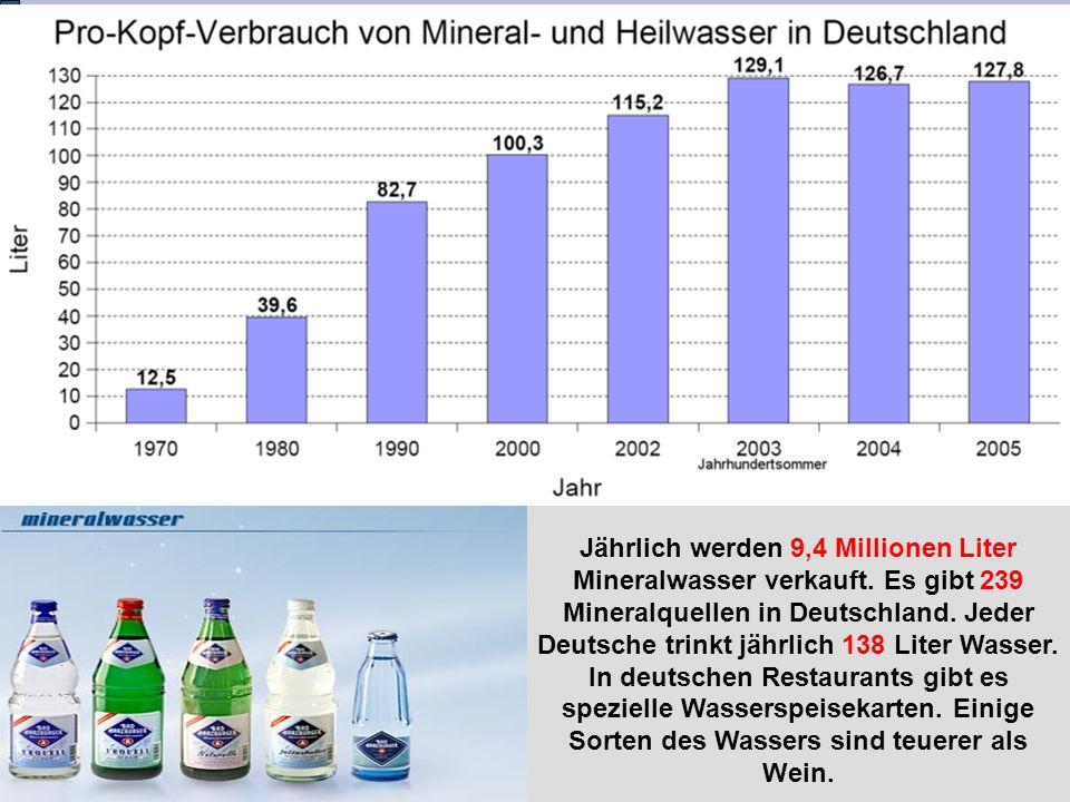 Jährlich werden 9,4 Millionen Liter Mineralwasser verkauft. Es gibt 239 Mineralquellen in Deutschland. Jeder Deutsche trinkt jährlich 138 Liter Wasser