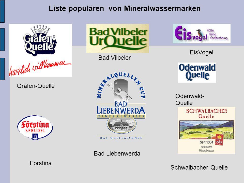 Liste populären von Mineralwassermarken Bad Liebenwerda Bad Vilbeler Odenwald- Quelle Forstina EisVogel Grafen-Quelle Schwalbacher Quelle