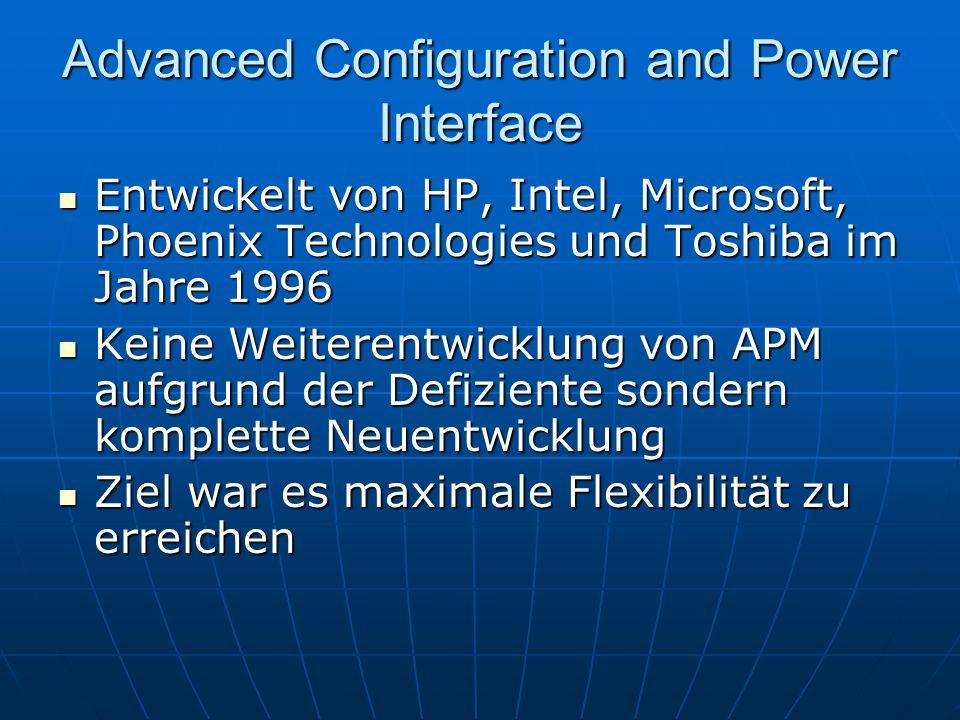 Advanced Configuration and Power Interface Entwickelt von HP, Intel, Microsoft, Phoenix Technologies und Toshiba im Jahre 1996 Entwickelt von HP, Inte