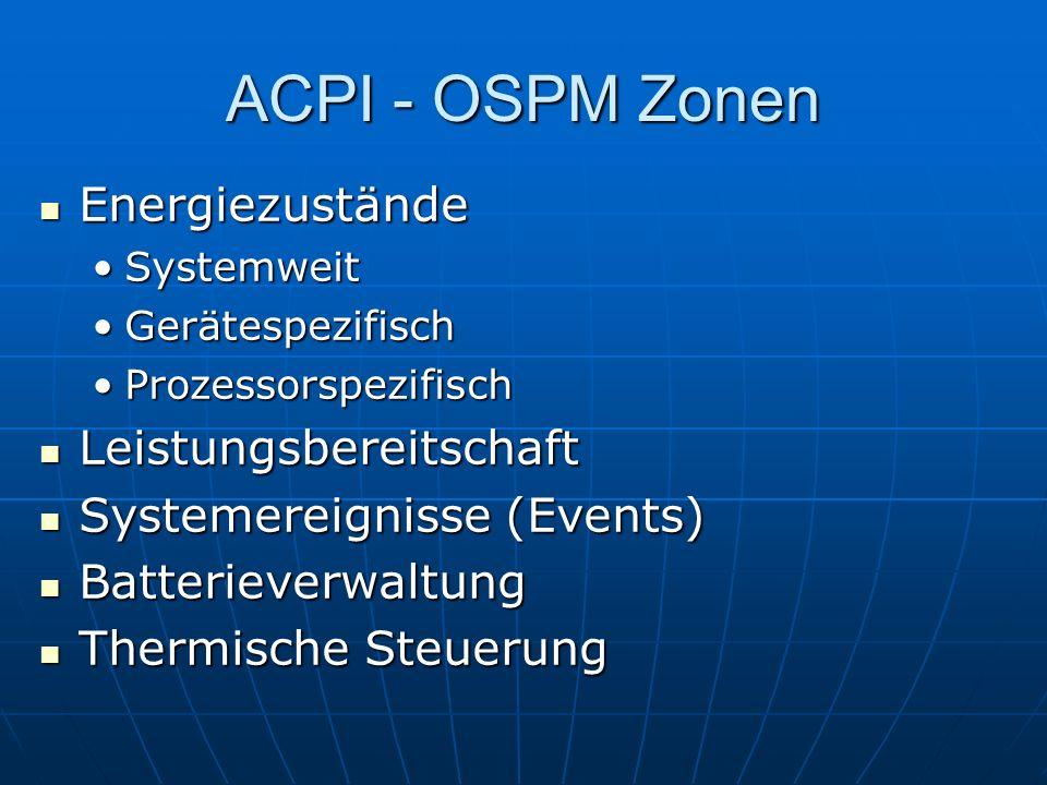 ACPI - OSPM Zonen Energiezustände Energiezustände SystemweitSystemweit GerätespezifischGerätespezifisch ProzessorspezifischProzessorspezifisch Leistun