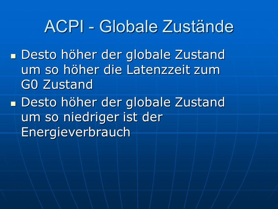 ACPI - Globale Zustände Desto höher der globale Zustand um so höher die Latenzzeit zum G0 Zustand Desto höher der globale Zustand um so höher die Late