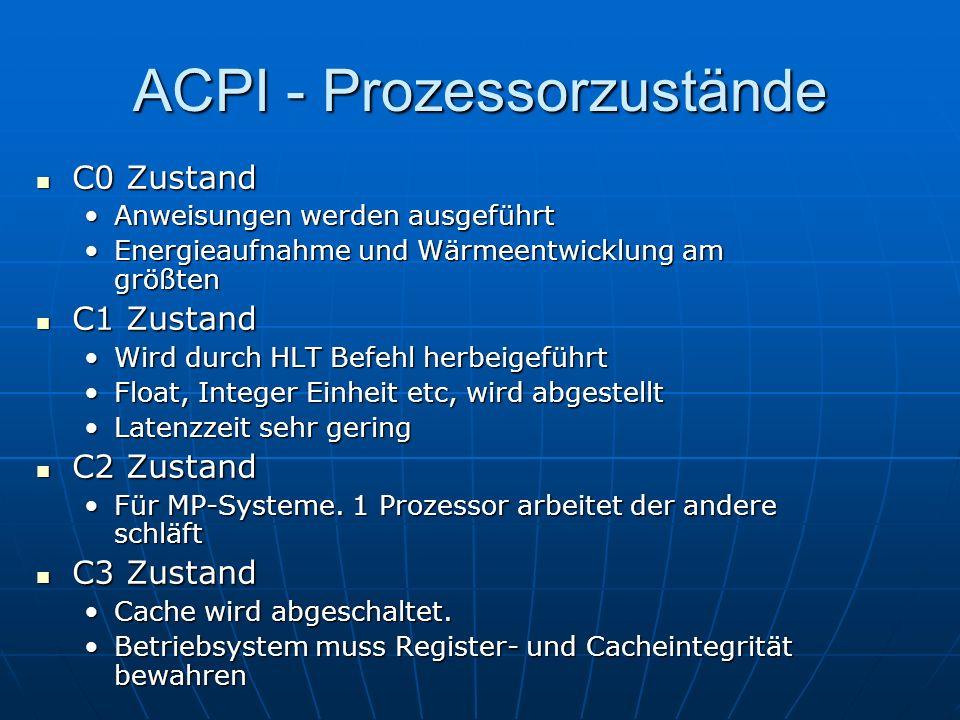 ACPI - Prozessorzustände C0 Zustand C0 Zustand Anweisungen werden ausgeführtAnweisungen werden ausgeführt Energieaufnahme und Wärmeentwicklung am größ