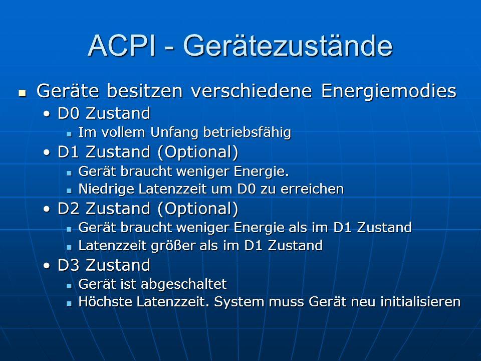 ACPI - Gerätezustände Geräte besitzen verschiedene Energiemodies Geräte besitzen verschiedene Energiemodies D0 ZustandD0 Zustand Im vollem Unfang betr