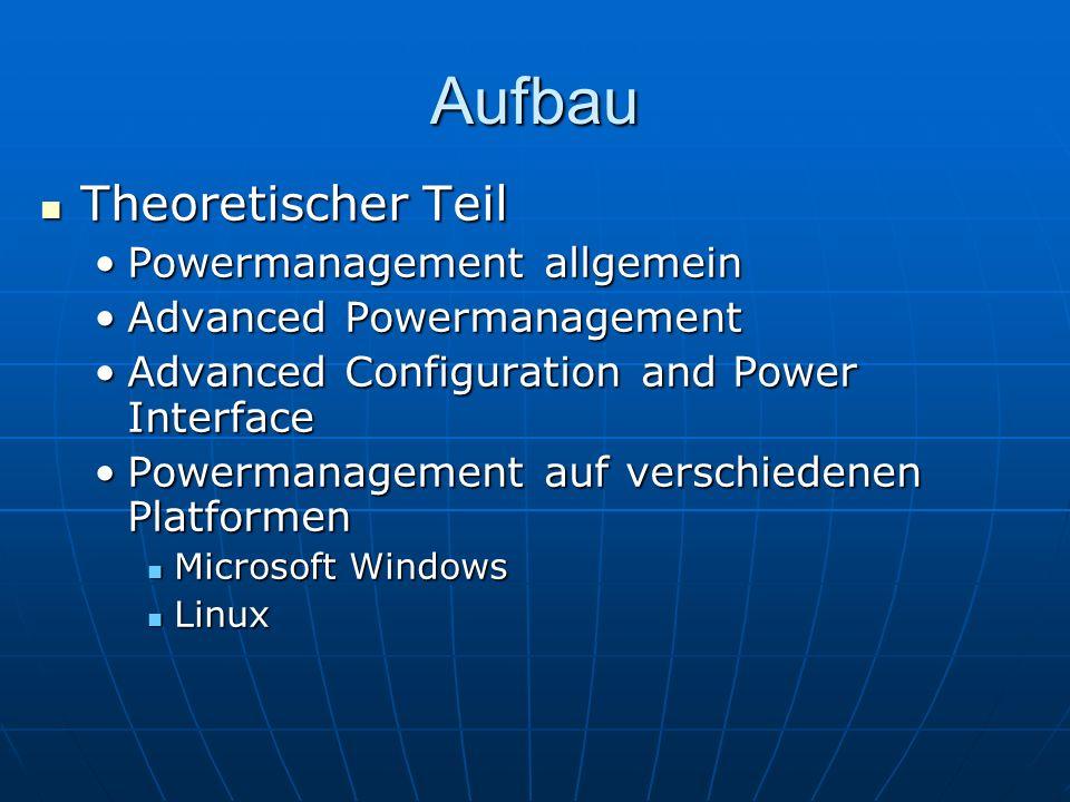 Aufbau Theoretischer Teil Theoretischer Teil Powermanagement allgemeinPowermanagement allgemein Advanced PowermanagementAdvanced Powermanagement Advan
