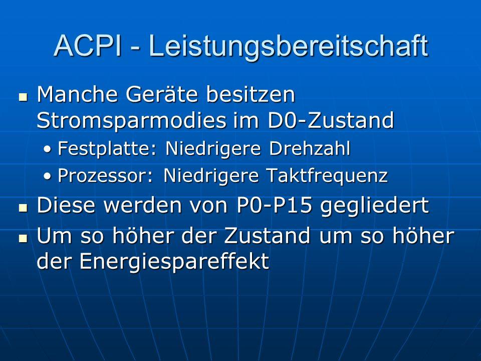 ACPI - Leistungsbereitschaft Manche Geräte besitzen Stromsparmodies im D0-Zustand Manche Geräte besitzen Stromsparmodies im D0-Zustand Festplatte: Nie
