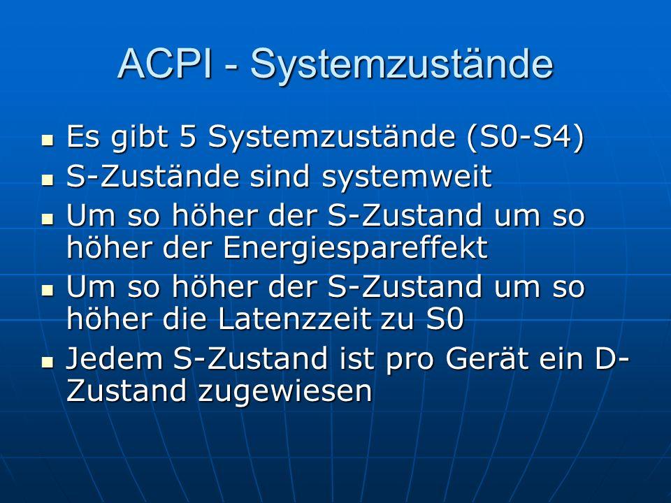 ACPI - Systemzustände Es gibt 5 Systemzustände (S0-S4) Es gibt 5 Systemzustände (S0-S4) S-Zustände sind systemweit S-Zustände sind systemweit Um so hö