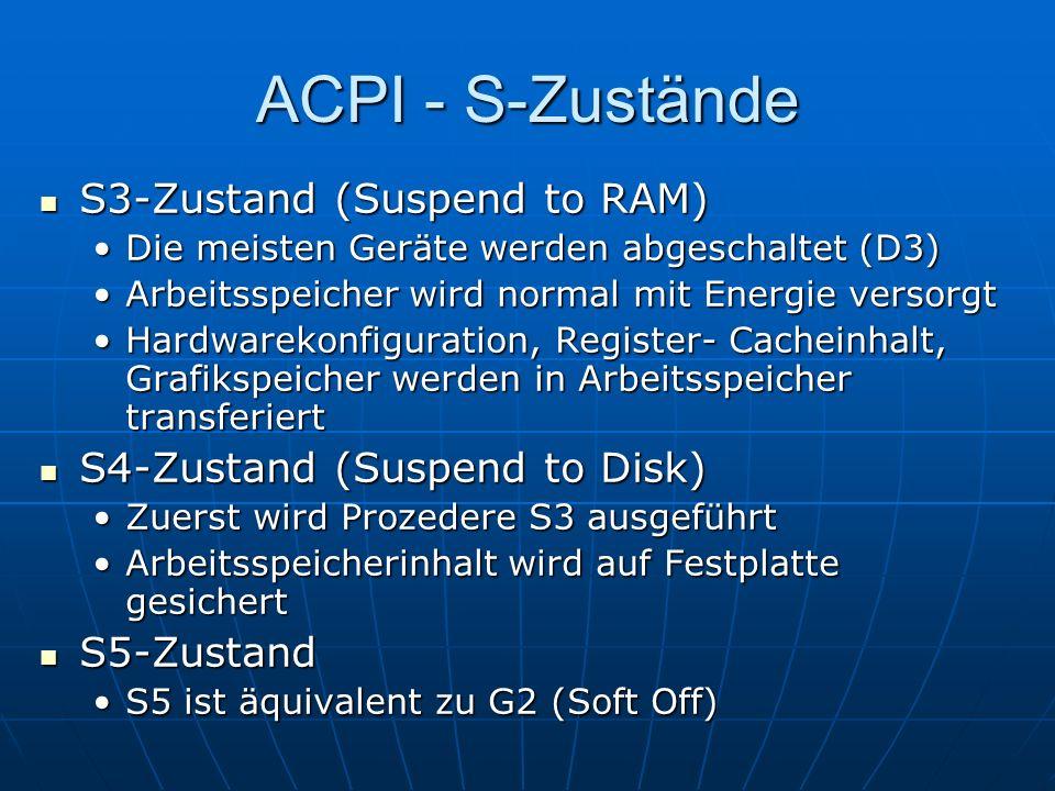 ACPI - S-Zustände S3-Zustand (Suspend to RAM) S3-Zustand (Suspend to RAM) Die meisten Geräte werden abgeschaltet (D3)Die meisten Geräte werden abgesch