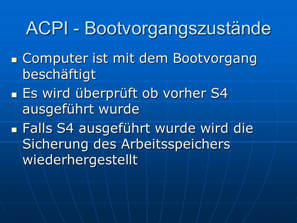 ACPI - Bootvorgangszustände Computer ist mit dem Bootvorgang beschäftigt Computer ist mit dem Bootvorgang beschäftigt Es wird überprüft ob vorher S4 a