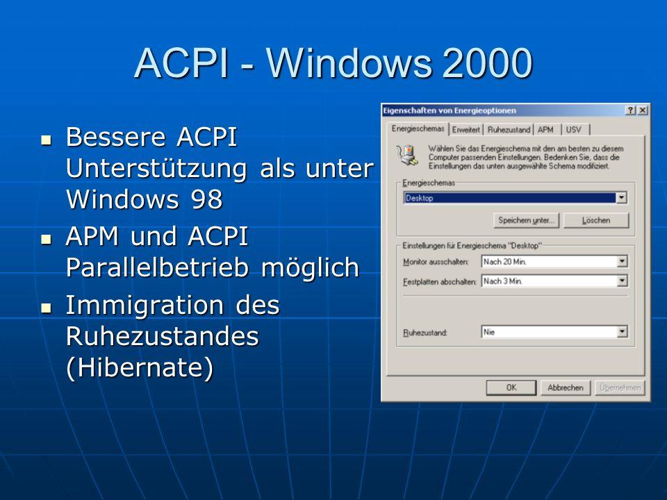 ACPI - Windows 2000 Bessere ACPI Unterstützung als unter Windows 98 Bessere ACPI Unterstützung als unter Windows 98 APM und ACPI Parallelbetrieb mögli