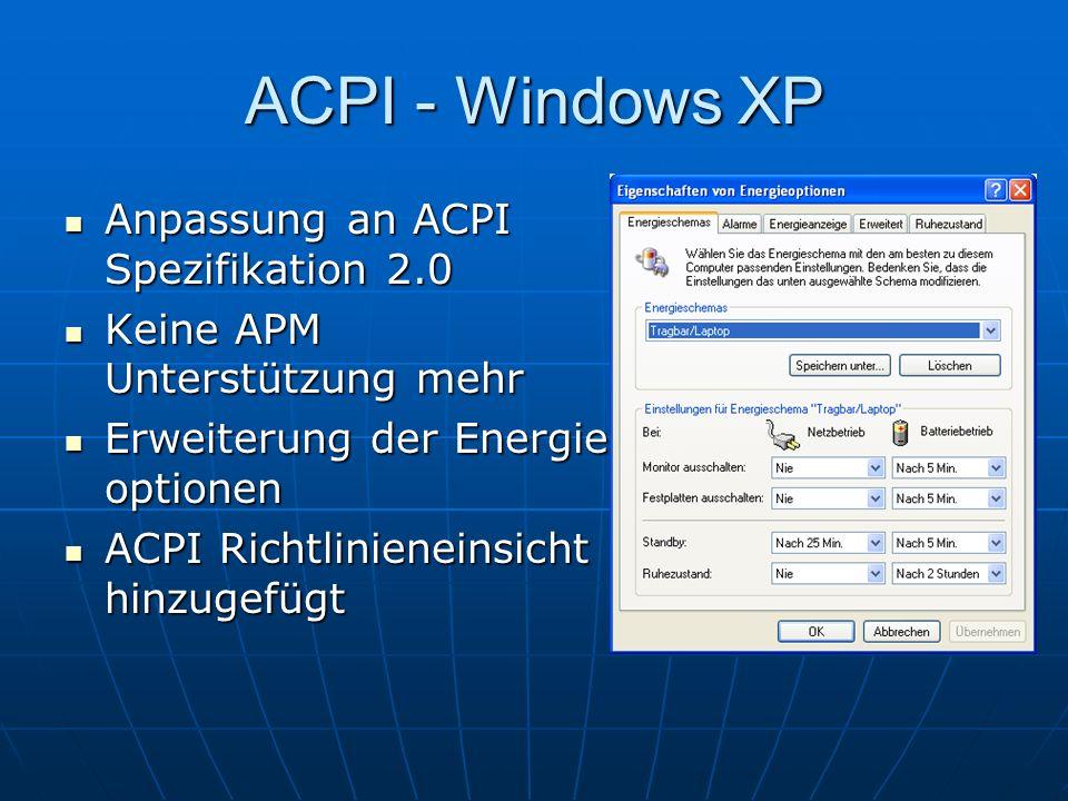 ACPI - Windows XP Anpassung an ACPI Spezifikation 2.0 Anpassung an ACPI Spezifikation 2.0 Keine APM Unterstützung mehr Keine APM Unterstützung mehr Er
