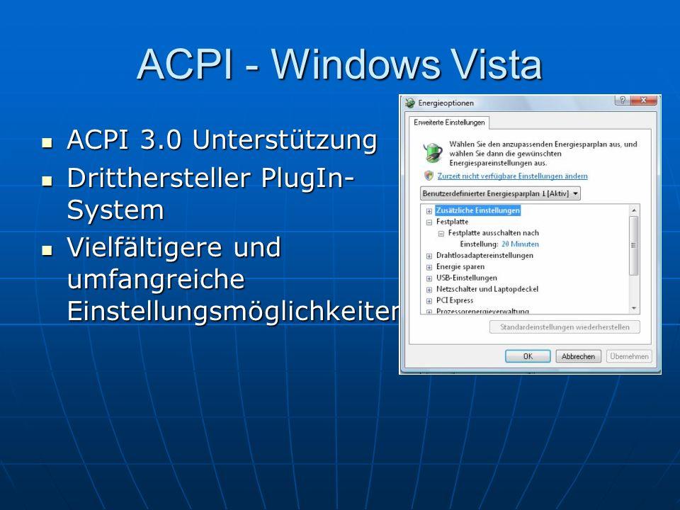 ACPI - Windows Vista ACPI 3.0 Unterstützung ACPI 3.0 Unterstützung Dritthersteller PlugIn- System Dritthersteller PlugIn- System Vielfältigere und umf