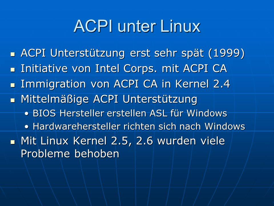 ACPI unter Linux ACPI Unterstützung erst sehr spät (1999) ACPI Unterstützung erst sehr spät (1999) Initiative von Intel Corps. mit ACPI CA Initiative
