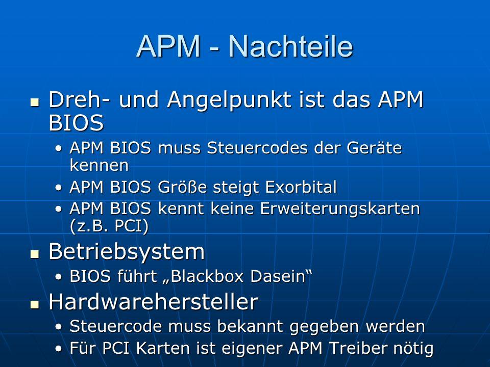 APM - Nachteile Dreh- und Angelpunkt ist das APM BIOS Dreh- und Angelpunkt ist das APM BIOS APM BIOS muss Steuercodes der Geräte kennenAPM BIOS muss S