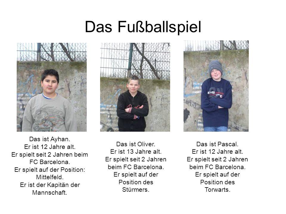 Das Fußballspiel Das ist Ayhan. Er ist 12 Jahre alt.