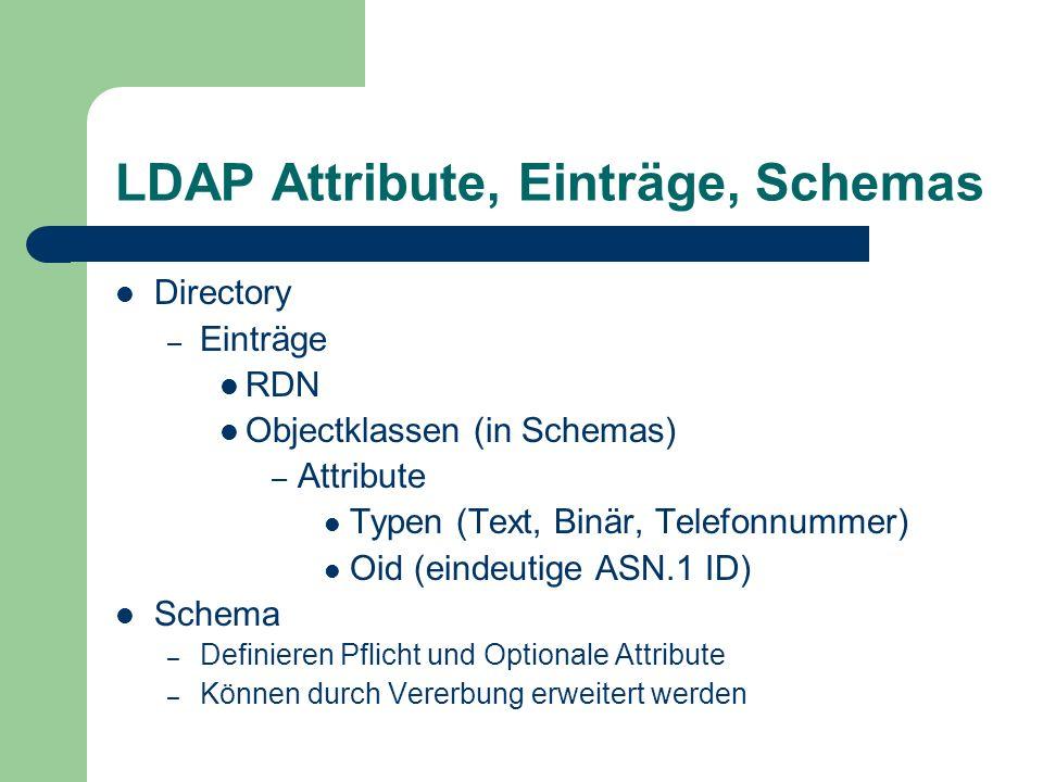 LDAP Attribute, Einträge, Schemas Directory – Einträge RDN Objectklassen (in Schemas) – Attribute Typen (Text, Binär, Telefonnummer) Oid (eindeutige A