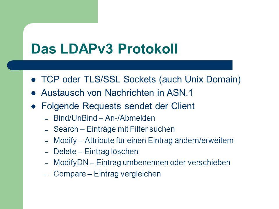 Das LDAPv3 Protokoll TCP oder TLS/SSL Sockets (auch Unix Domain) Austausch von Nachrichten in ASN.1 Folgende Requests sendet der Client – Bind/UnBind