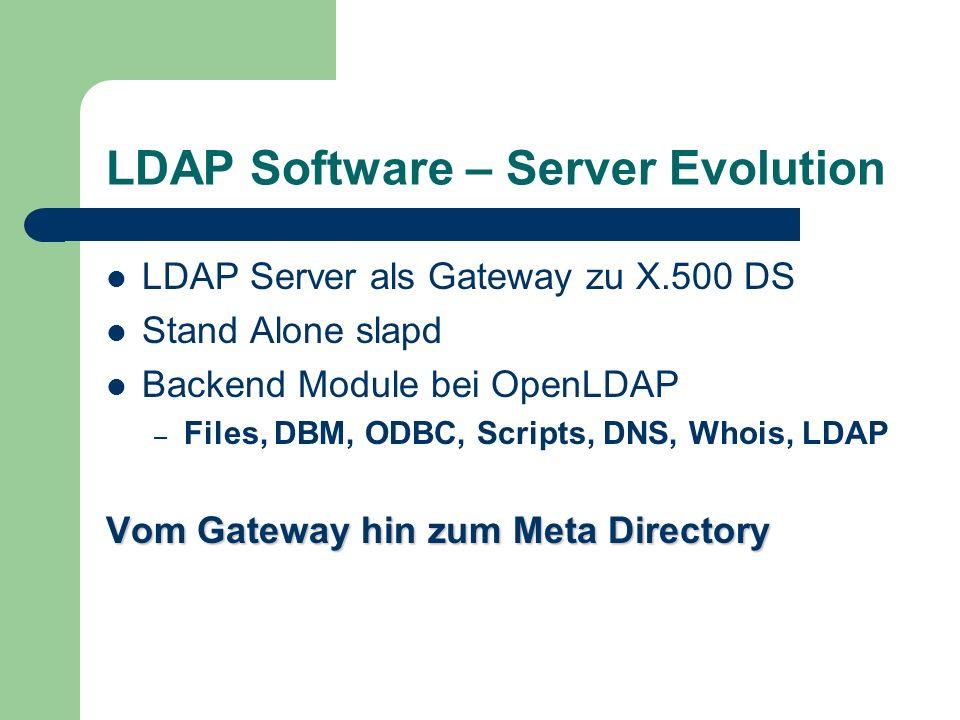 LDAP Software – Server Evolution LDAP Server als Gateway zu X.500 DS Stand Alone slapd Backend Module bei OpenLDAP – Files, DBM, ODBC, Scripts, DNS, W