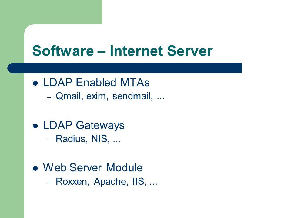 Software – Internet Server LDAP Enabled MTAs – Qmail, exim, sendmail,... LDAP Gateways – Radius, NIS,... Web Server Module – Roxxen, Apache, IIS,...