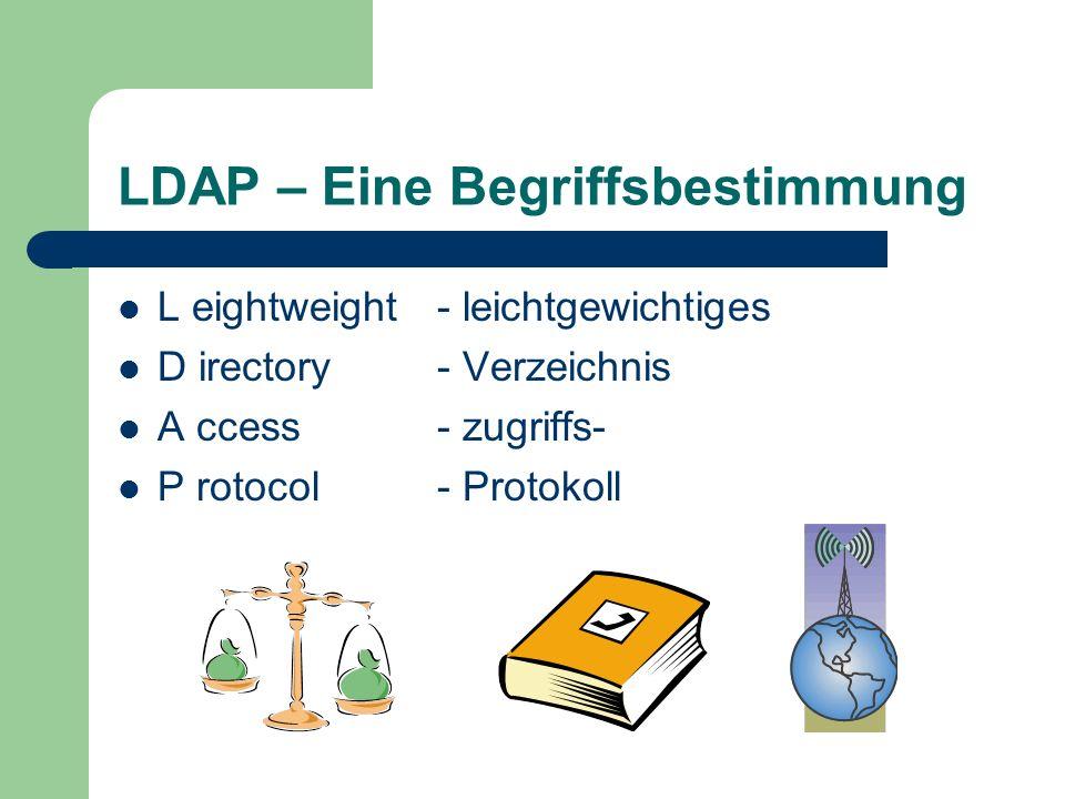 LDAP – Eine Begriffsbestimmung L eightweight- leichtgewichtiges D irectory- Verzeichnis A ccess- zugriffs- P rotocol- Protokoll