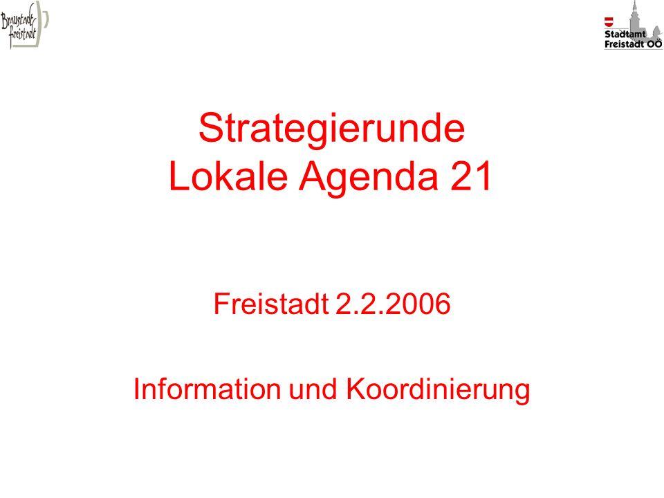Strategierunde Lokale Agenda 21 Freistadt 2.2.2006 Information und Koordinierung