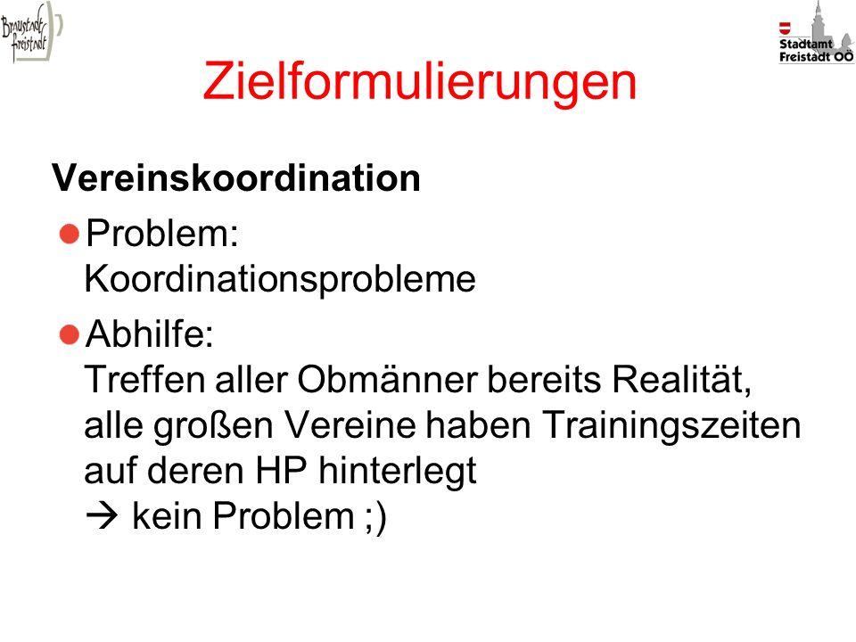 Zielformulierungen Vereinskoordination Problem: Koordinationsprobleme Abhilfe: Treffen aller Obmänner bereits Realität, alle großen Vereine haben Trai