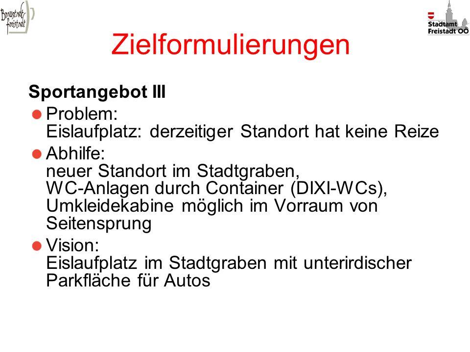 Zielformulierungen Sportangebot III Problem: Eislaufplatz: derzeitiger Standort hat keine Reize Abhilfe: neuer Standort im Stadtgraben, WC-Anlagen dur