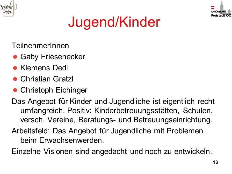 18 Jugend/Kinder TeilnehmerInnen Gaby Friesenecker Klemens Dedl Christian Gratzl Christoph Eichinger Das Angebot für Kinder und Jugendliche ist eigent