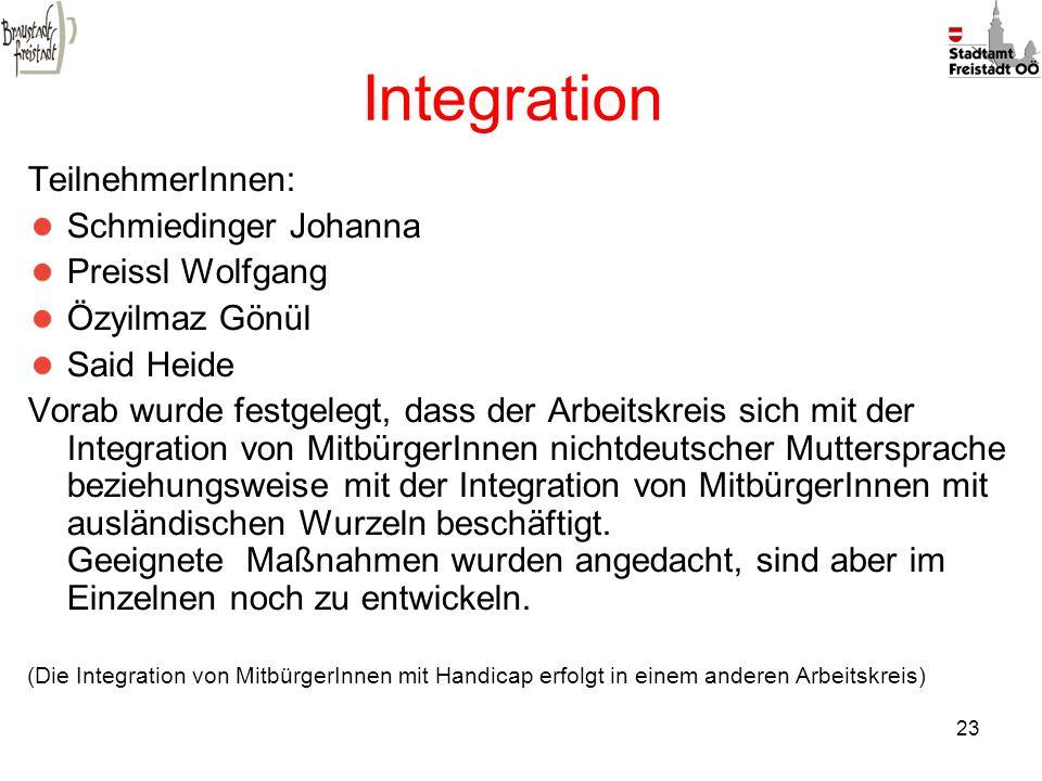 23 Integration TeilnehmerInnen: Schmiedinger Johanna Preissl Wolfgang Özyilmaz Gönül Said Heide Vorab wurde festgelegt, dass der Arbeitskreis sich mit