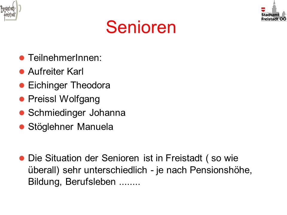 Senioren TeilnehmerInnen: Aufreiter Karl Eichinger Theodora Preissl Wolfgang Schmiedinger Johanna Stöglehner Manuela Die Situation der Senioren ist in