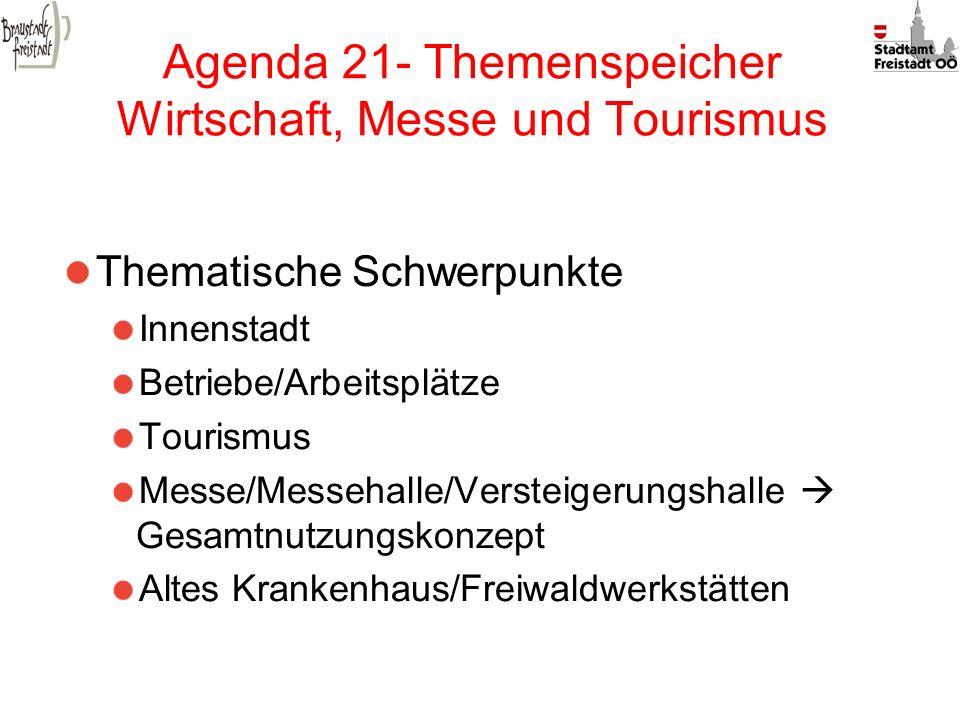 Agenda 21- Themenspeicher Wirtschaft, Messe und Tourismus Thematische Schwerpunkte Innenstadt Betriebe/Arbeitsplätze Tourismus Messe/Messehalle/Verste