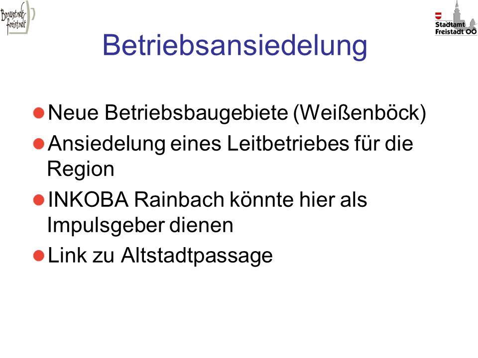 Betriebsansiedelung Neue Betriebsbaugebiete (Weißenböck) Ansiedelung eines Leitbetriebes für die Region INKOBA Rainbach könnte hier als Impulsgeber di