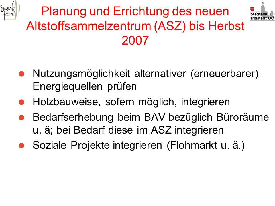Planung und Errichtung des neuen Altstoffsammelzentrum (ASZ) bis Herbst 2007 Nutzungsmöglichkeit alternativer (erneuerbarer) Energiequellen prüfen Hol