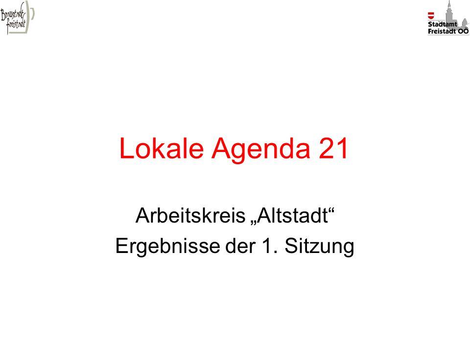 Lokale Agenda 21 Arbeitskreis Altstadt Ergebnisse der 1. Sitzung